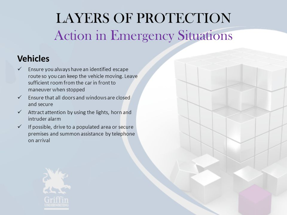 LAYERS OF PROTECTION Action in Emergency Situations Vehicles Ensure you always have an identified escape route so you can keep the vehicle moving.