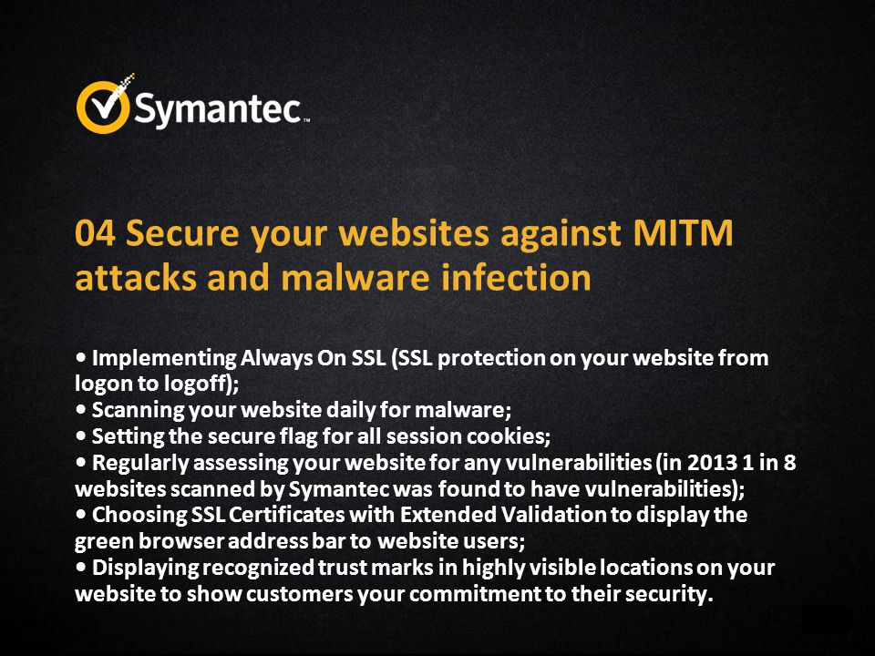 04 Secure your websites against MITM attacks and malware infection Implementing Always On SSL (SSL protection on your website from logon to logoff); S