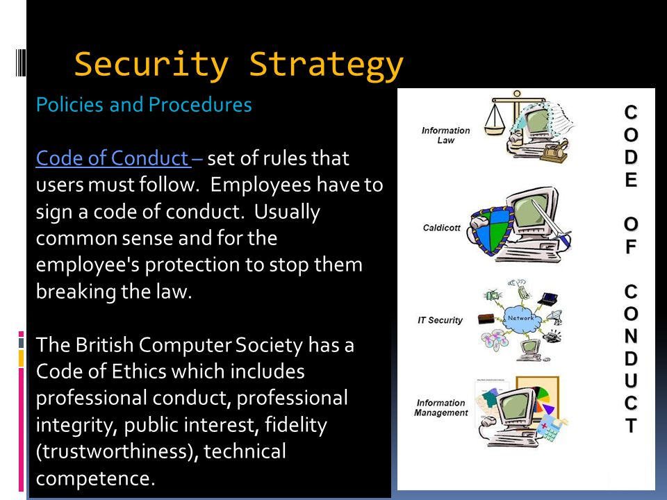 Security Strategy Policies and Procedures Code of Conduct – set of rules that users must follow.