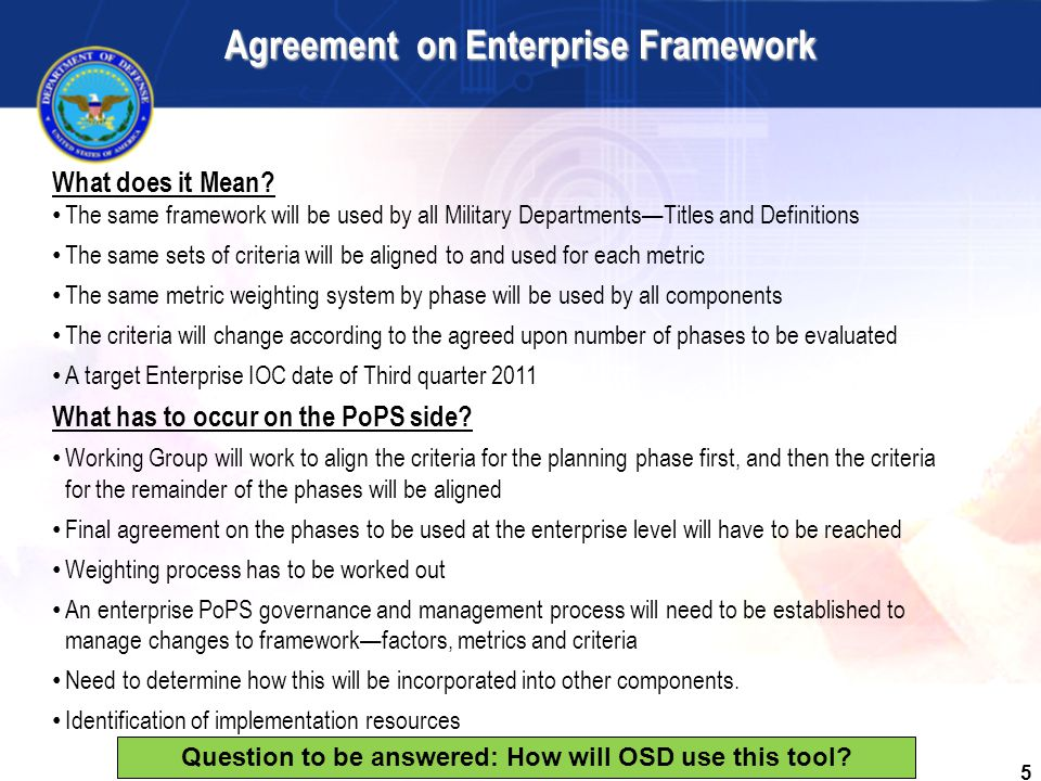 5 Agreement on Enterprise Framework What does it Mean.