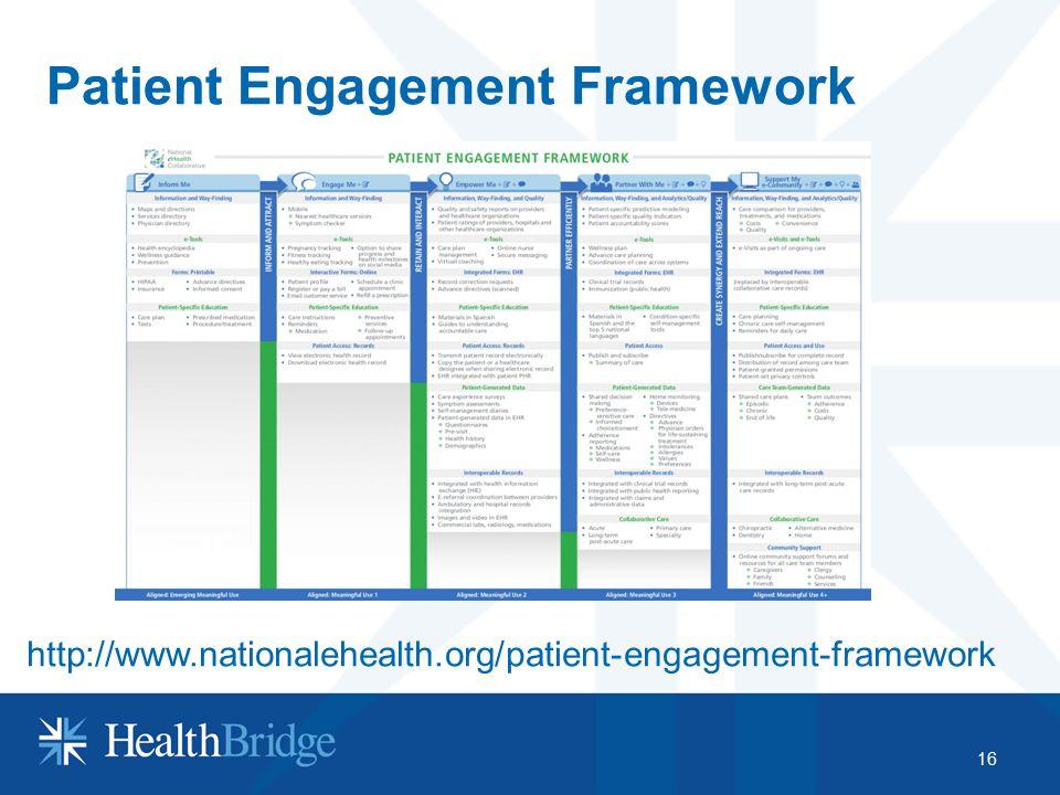 Patient Engagement Framework 16 http://www.nationalehealth.org/patient-engagement-framework