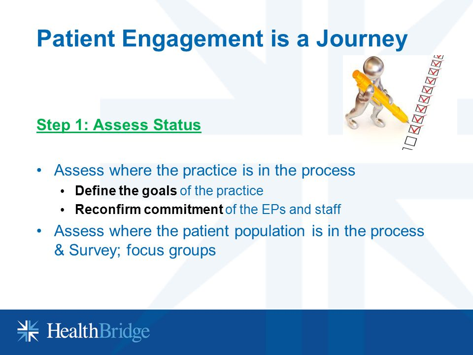 Patient Engagement is a Journey Step 1: Assess Status Assess where the practice is in the process Define the goals of the practice Reconfirm commitmen