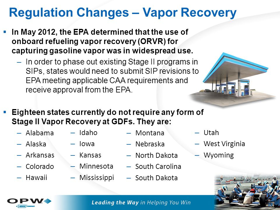 Regulation Changes – Vapor Recovery 23  In May 2012, the EPA determined that the use of onboard refueling vapor recovery (ORVR) for capturing gasolin