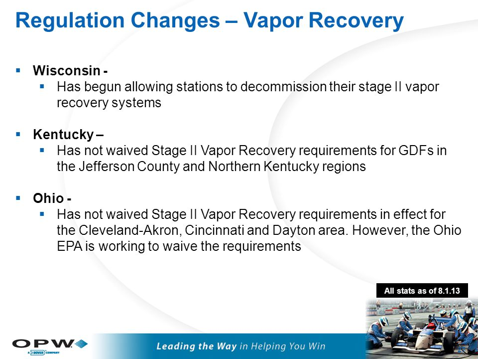 Regulation Changes – Vapor Recovery 27  Wisconsin -  Has begun allowing stations to decommission their stage II vapor recovery systems  Kentucky –