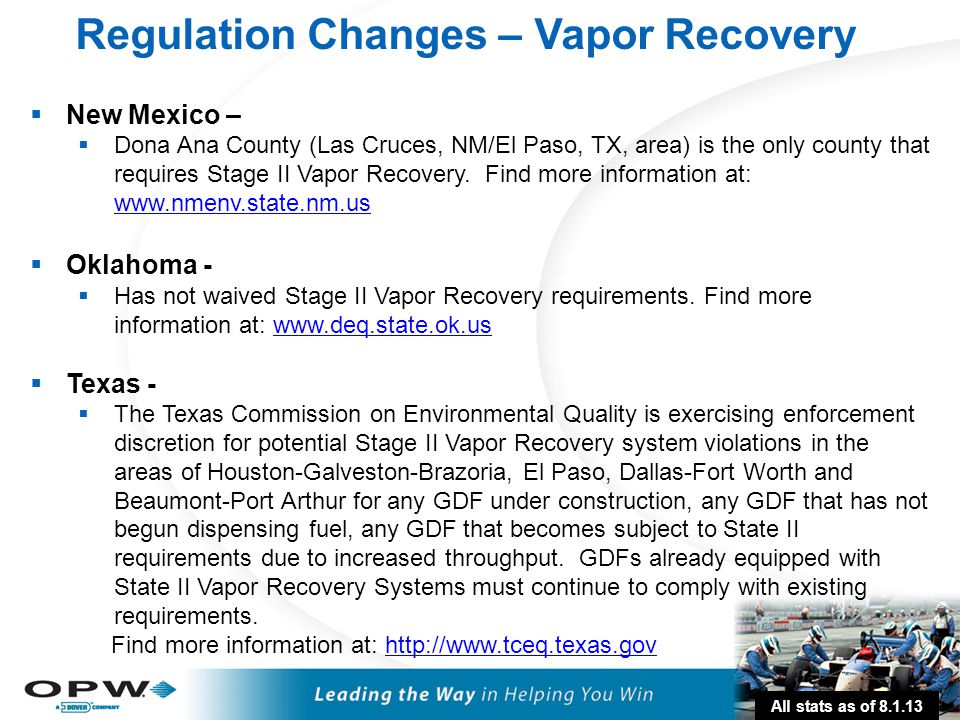 32  New Mexico –  Dona Ana County (Las Cruces, NM/El Paso, TX, area) is the only county that requires Stage II Vapor Recovery. Find more information