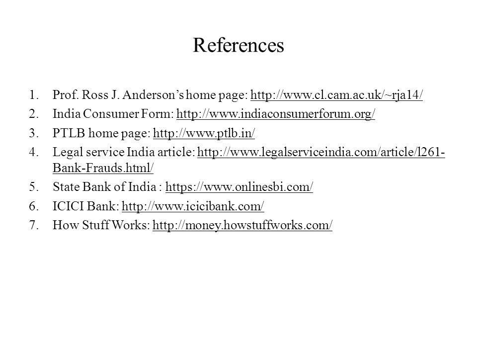 References 1.Prof. Ross J.