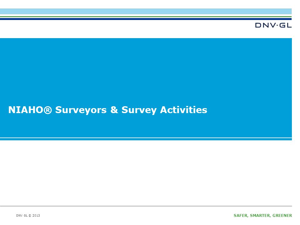 DNV GL © 2013 SAFER, SMARTER, GREENER DNV GL © 2013 NIAHO® Surveyors & Survey Activities