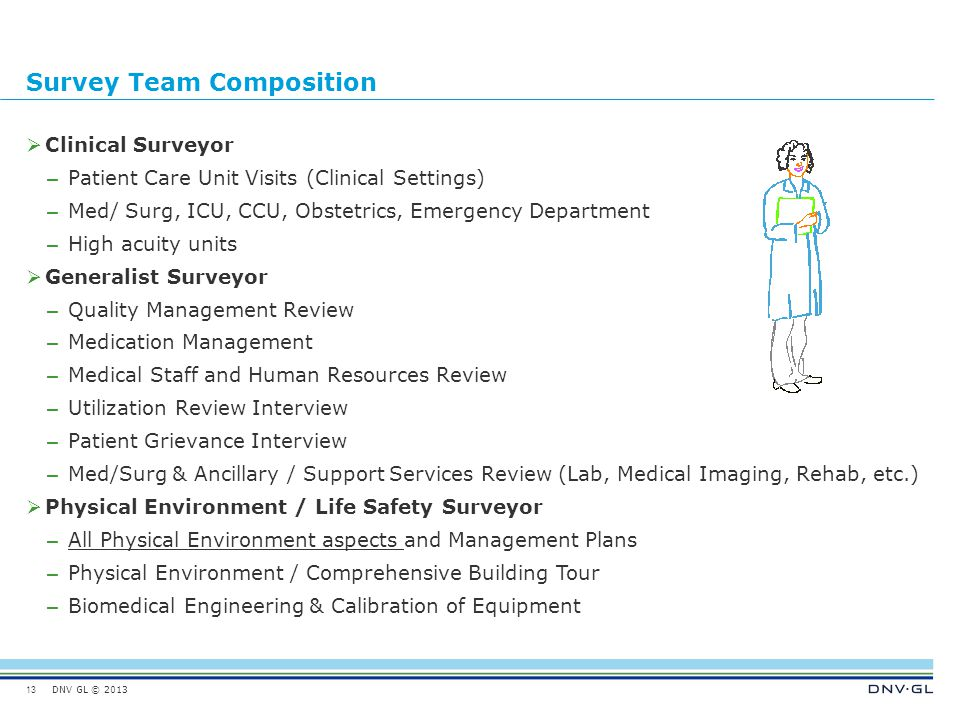 DNV GL © 2013 Survey Team Composition  Clinical Surveyor – Patient Care Unit Visits (Clinical Settings) – Med/ Surg, ICU, CCU, Obstetrics, Emergency