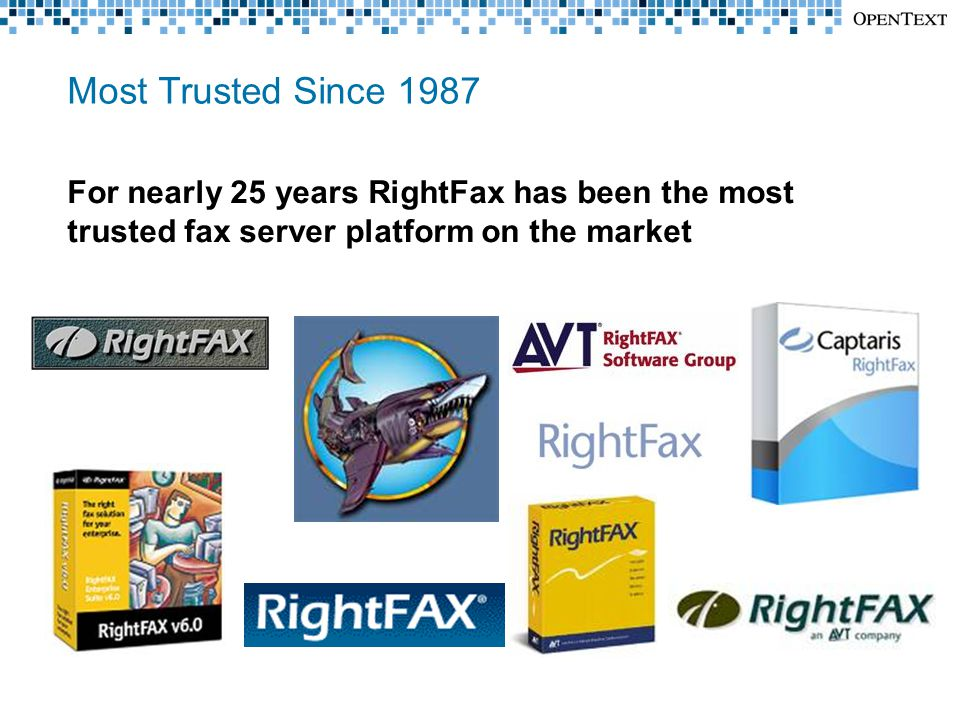 Most Trusted Since 1987 For nearly 25 years RightFax has been the most trusted fax server platform on the market
