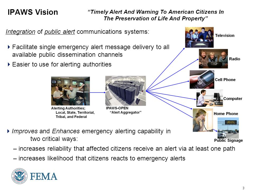 4 Alert Disseminators (public alerting systems) American People IPAWS Architecture Standards Based Alert Message protocols, authenticated alert message senders, shared, trusted access & distribution networks, alerts delivered to more public interface devices cell phones, pagers Web Browsers, widgets, web sites Emergency Alert System Commercial Mobile Alert Service (CMAS) (aka PLAN) Internet Services NOAA Alert Aggregator/ Gateway the Message Router (Open Platform for Emergency Networks) HazCollect Local State Territorial Tribal Federal* State / Local Unique Alerting Systems Siren Digital Signage ETN FM RBDS NWS CAP messages Cellular and Commercial Mobile Networks AM FM Satellite Radio; Digital, Analog, Cable, and Satellite TV IPAWS compliant CAP Alert Origination Tools IPAWS OPEN Emergency Future Technologies Alerting Authorities * Includes NOAA IPAWS compliant CAP Alert Origination Tools
