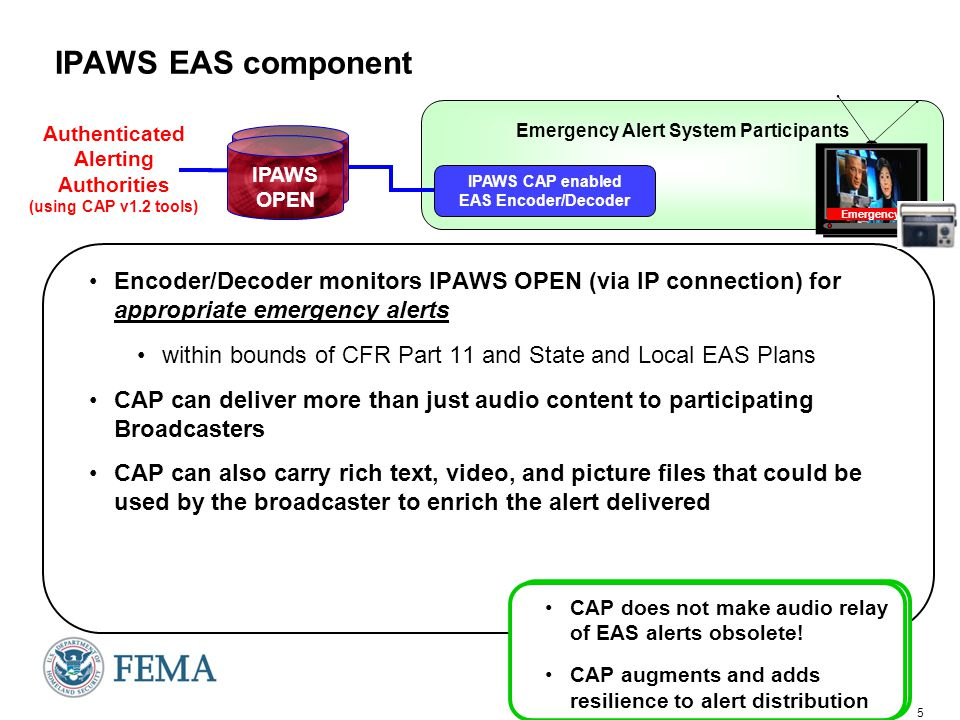 IPAWS Commercial Mobile Alert System (CMAS) component aka Personal Localized Alerting Network (PLAN): CMAS/PLAN Carriers Authenticated Alerting Authorities (using CAP v1.2 tools) IPAWS OPEN Geographically targeted Received only by cell phones in impacted area within bounds of CFR Part 10 and cell carrier implementations Not subscription based -- true location based alerting for Alerts only 90 character English only text Citizens may opt-out of receiving alerts Increment 1 capability Room to grow!