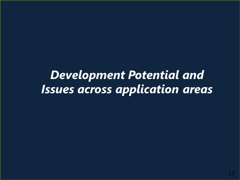 18 Development Potential and Issues across application areas