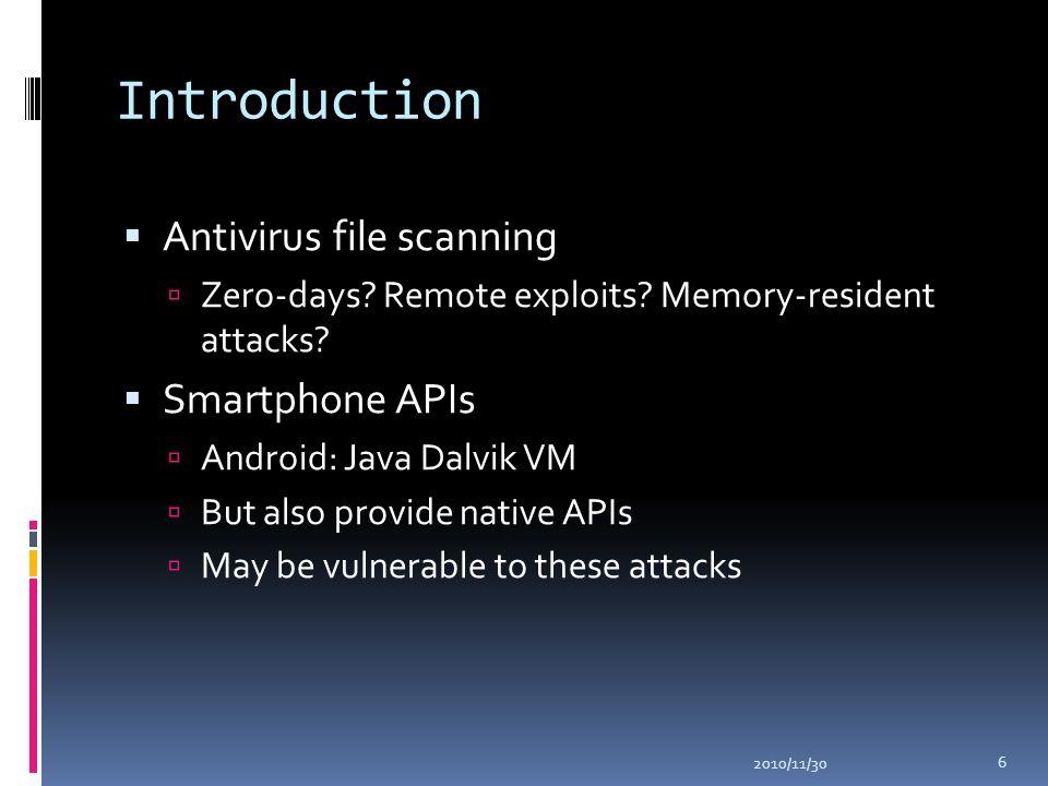 Introduction  Antivirus file scanning  Zero-days? Remote exploits? Memory-resident attacks?  Smartphone APIs  Android: Java Dalvik VM  But also p