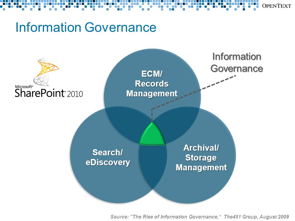Information Governance ECM/RecordsManagement Search/eDiscovery Archival/StorageManagement Source: The Rise of Information Governance, The451 Group, August 2009 InformationGovernance