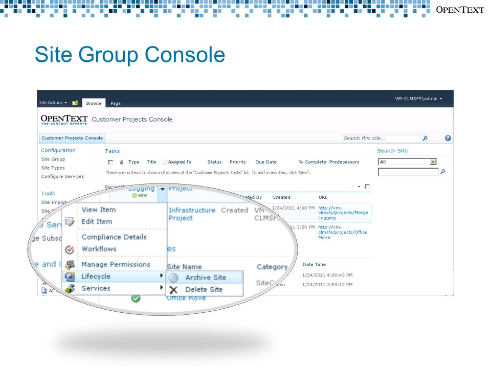 Site Group Console