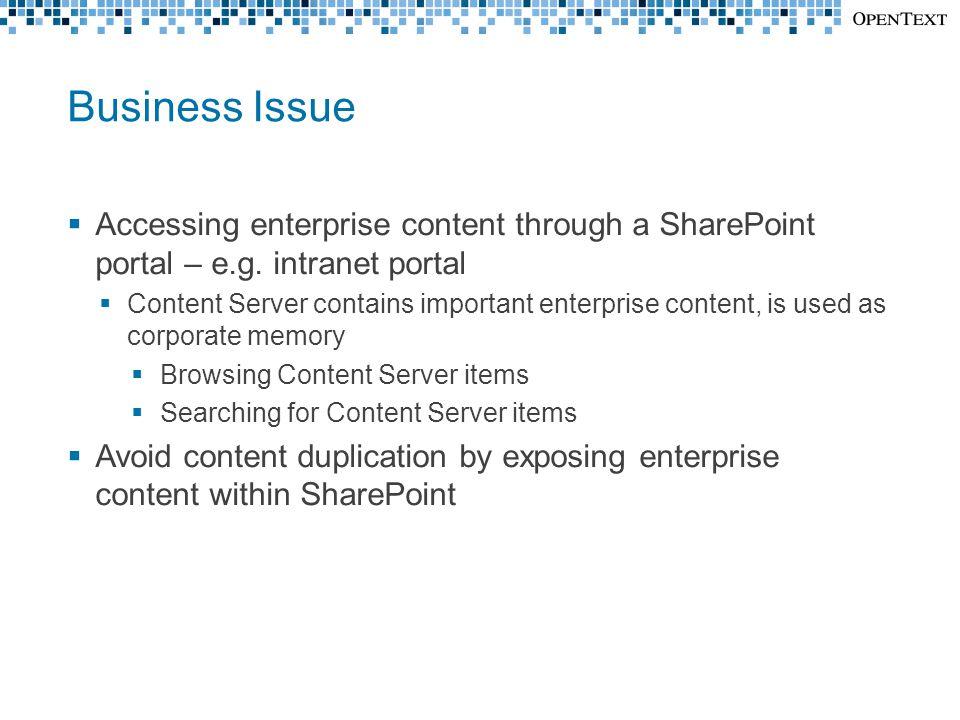 Business Issue  Accessing enterprise content through a SharePoint portal – e.g. intranet portal  Content Server contains important enterprise conten