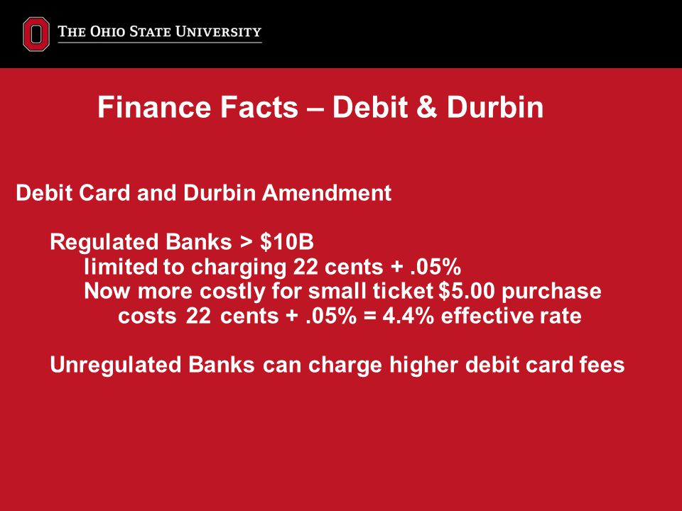 Debit Card and Durbin Amendment Regulated Banks > $10B limited to charging 22 cents +.05% Now more costly for small ticket $5.00 purchase costs 22 cen
