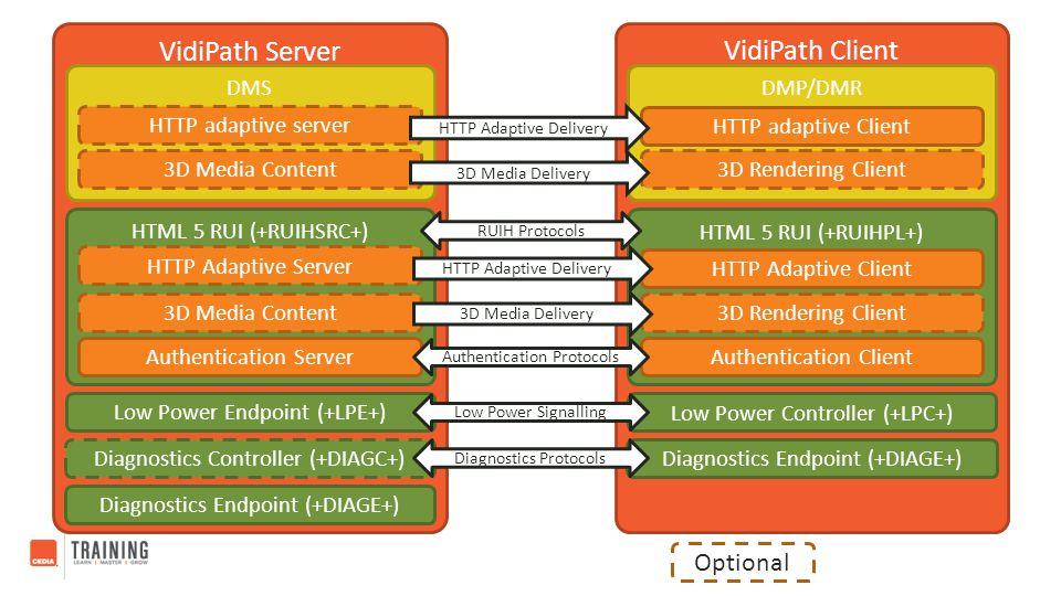 VidiPath Client VidiPath Server DMS HTML 5 RUI (+RUIHSRC+) Authentication Server Low Power Endpoint (+LPE+) Diagnostics Controller (+DIAGC+) DMP/DMR L