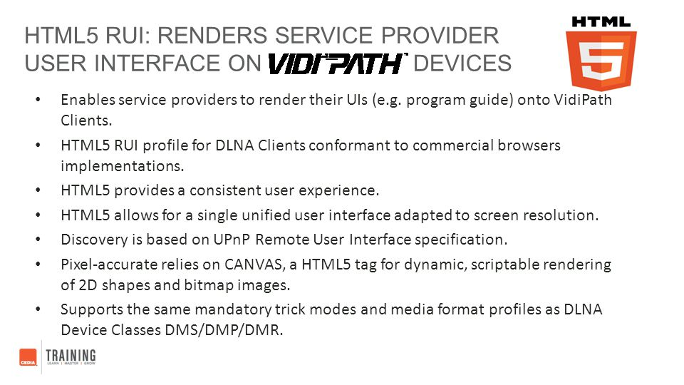 HTML5 RUI: RENDERS SERVICE PROVIDER USER INTERFACE ON DEVICES Enables service providers to render their UIs (e.g. program guide) onto VidiPath Clients