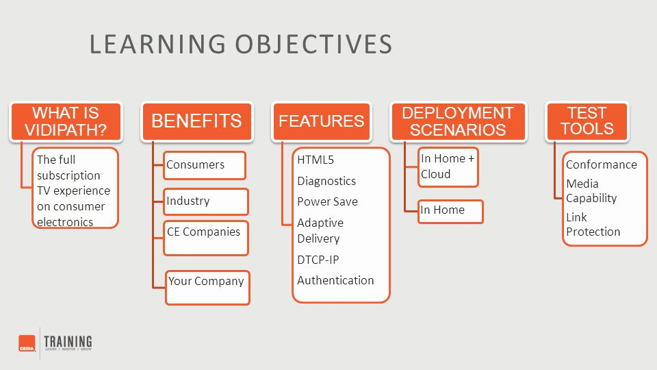 LEARNING OBJECTIVES WHAT IS VIDIPATH? The full subscription TV experience on consumer electronics BENEFITS Consumers Industry CE Companies Your Compan