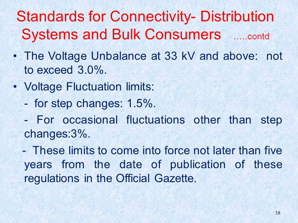 Standards for Connectivity- Distribution Systems and Bulk Consumers …..contd The Voltage Unbalance at 33 kV and above: not to exceed 3.0%.