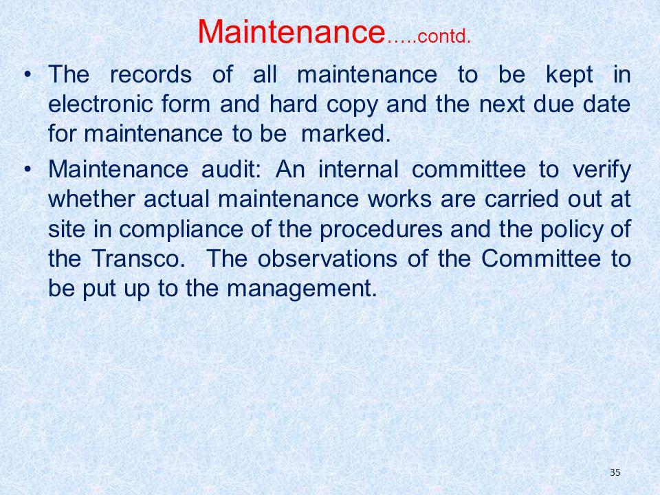 Maintenance …..contd.