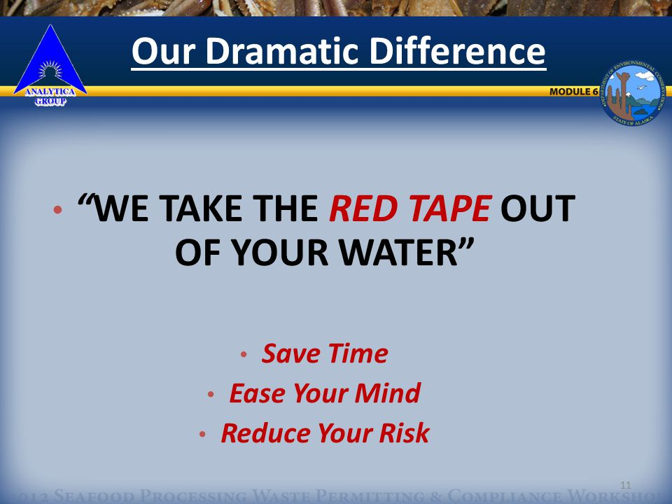 11 WE TAKE THE RED TAPE OUT OF YOUR WATER Save Time Ease Your Mind Reduce Your Risk Our Dramatic Difference