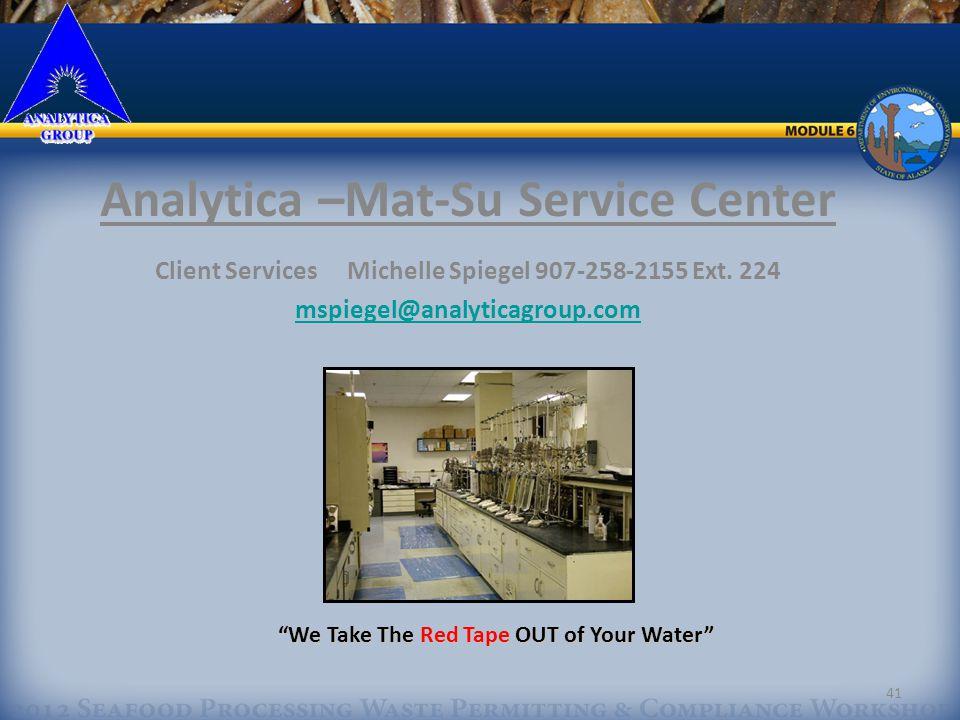 41 Analytica –Mat-Su Service Center Client ServicesMichelle Spiegel 907-258-2155 Ext.