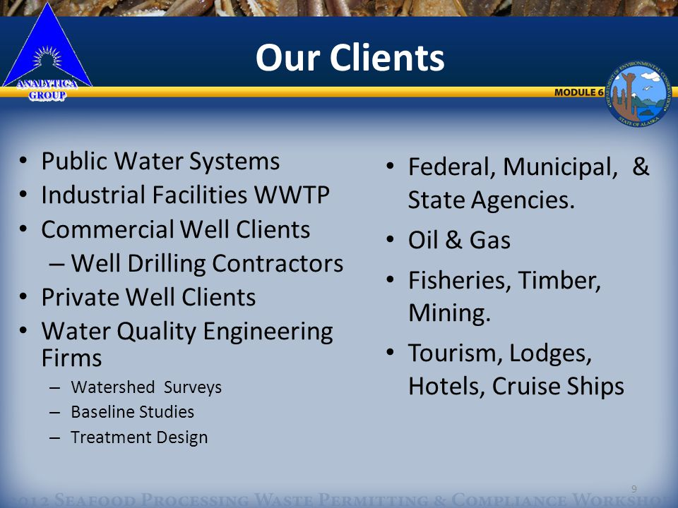 10 Our Expertise We specialize in Drinking Water & Wastewater Compliance Monitoring Regulations. 10