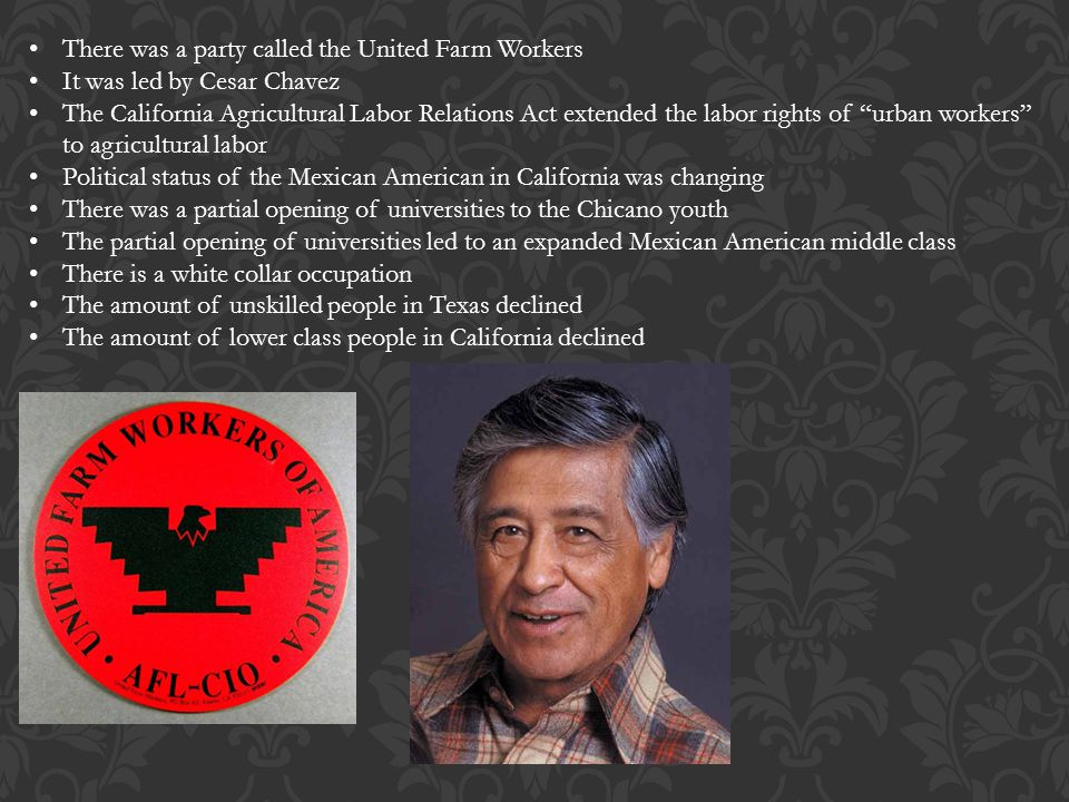 There was a party called the United Farm Workers It was led by Cesar Chavez The California Agricultural Labor Relations Act extended the labor rights