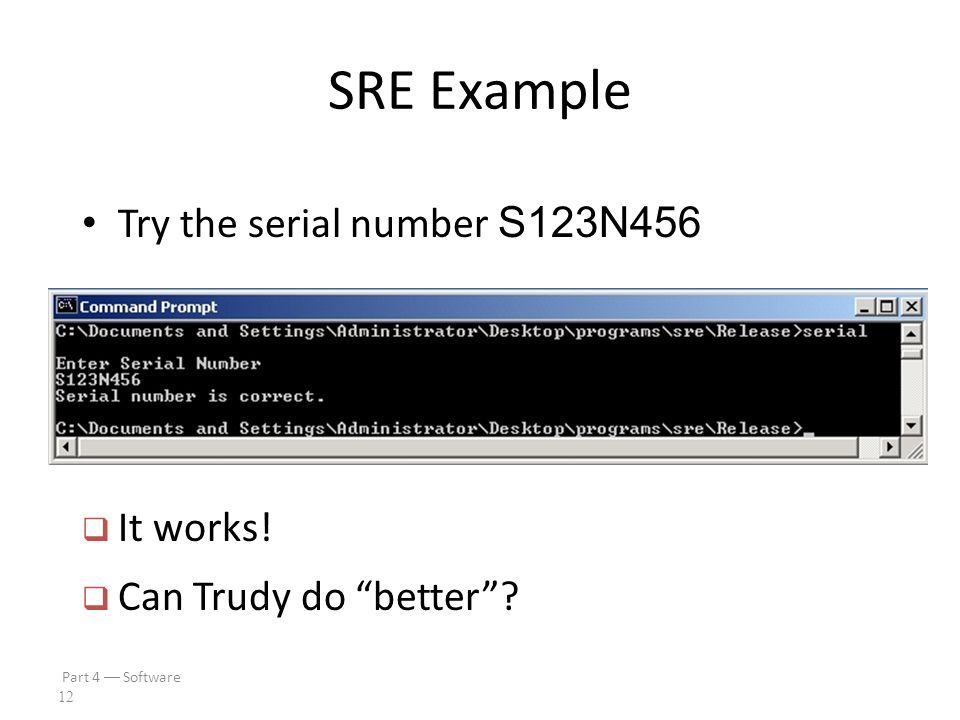 Part 4  Software 11 SRE Example IDA Pro disassembly  Looks like serial number is S123N456