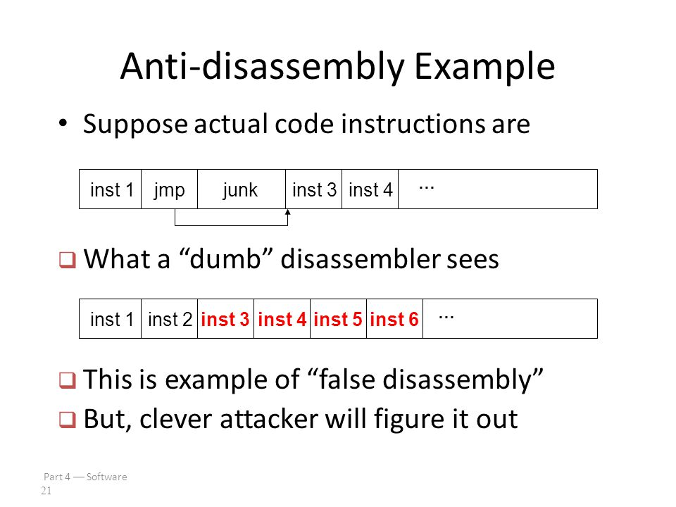 Part 4  Software 20 Anti-disassembly Anti-disassembly methods include – Encrypted or packed object code – False disassembly – Self-modifying code – Many other techniques Encryption prevents disassembly – But still need plaintext code to decrypt code.