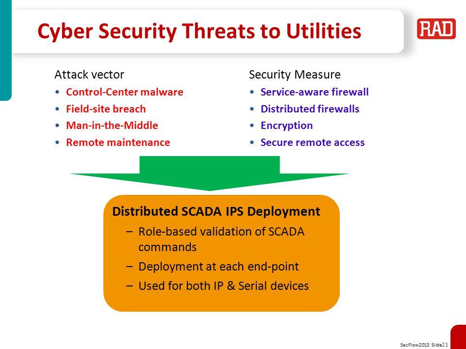 SecFlow2013 Slide 22 SecFlow 4 Distributed Firewall SCADA-aware firewall for Modbus and IEC 101/104 IEC 104 UDP/IP SSH (T.