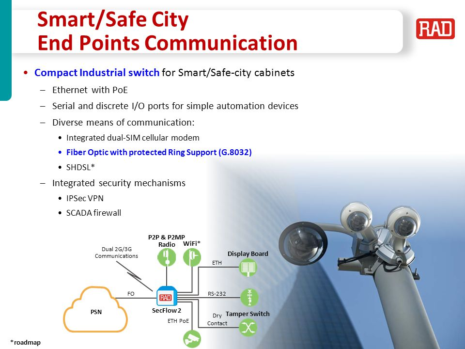 SecFlow2013 Slide 34 ETH Ring Case Study of a Highway Security Infrastructure – Italy Autostarda ETH Ring 1588 Clock Central Site Ring 1 Ring 6 Ring 7 Ring 12 RS-232/485 Remote Site Traffic Control Security Cameras Tetra Base Stations Message Boards PoE 1588 clock sync QoS RS-232/485 Remote Site Traffic Control Security Cameras Tetra Base Stations Message Boards PoE 1588 clock sync QoS