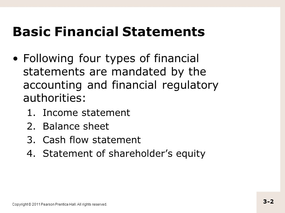 Copyright © 2011 Pearson Prentice Hall. All rights reserved. 3-2 Basic Financial Statements Following four types of financial statements are mandated