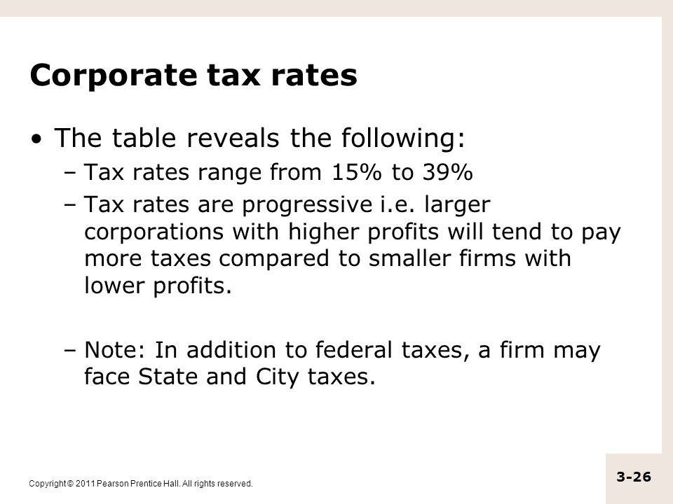 Copyright © 2011 Pearson Prentice Hall. All rights reserved. 3-26 Corporate tax rates The table reveals the following: –Tax rates range from 15% to 39