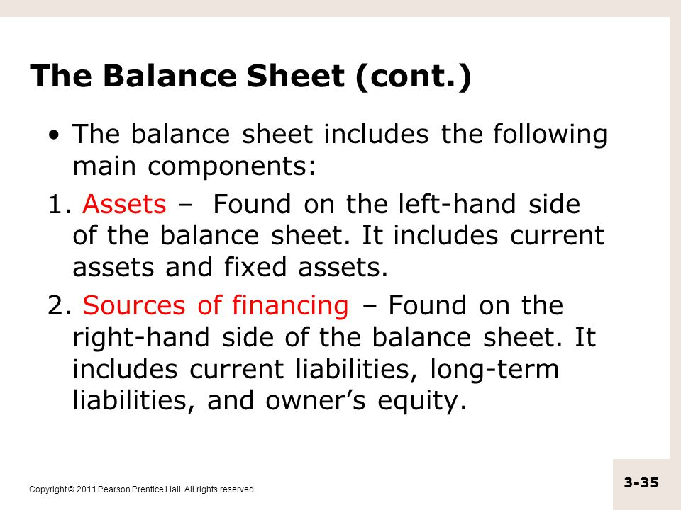Copyright © 2011 Pearson Prentice Hall. All rights reserved. 3-35 The Balance Sheet (cont.) The balance sheet includes the following main components: