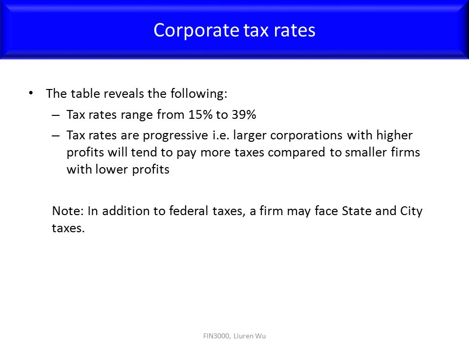The table reveals the following: – Tax rates range from 15% to 39% – Tax rates are progressive i.e. larger corporations with higher profits will tend