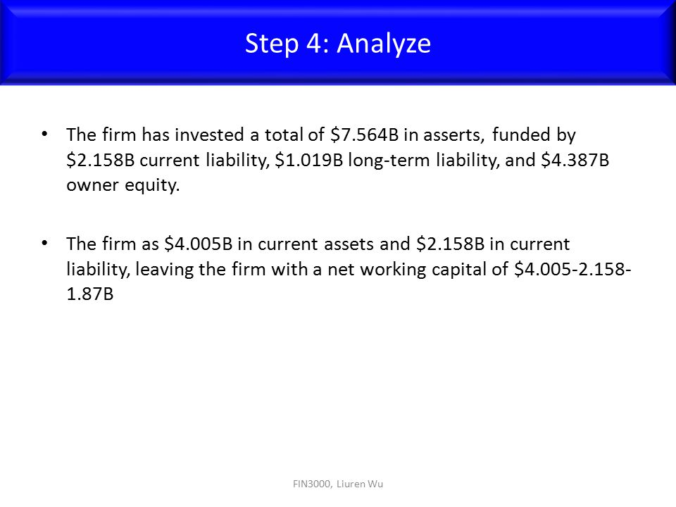 The firm has invested a total of $7.564B in asserts, funded by $2.158B current liability, $1.019B long-term liability, and $4.387B owner equity. The f