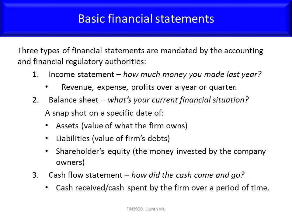 Three types of financial statements are mandated by the accounting and financial regulatory authorities: 1.Income statement – how much money you made