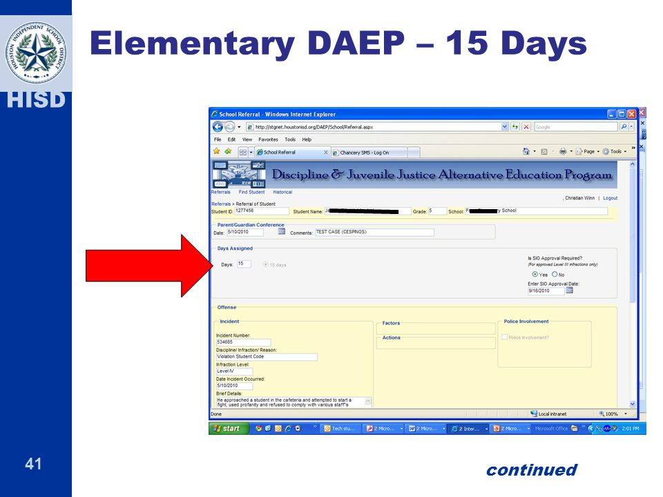 41 HISD Elementary DAEP – 15 Days continued