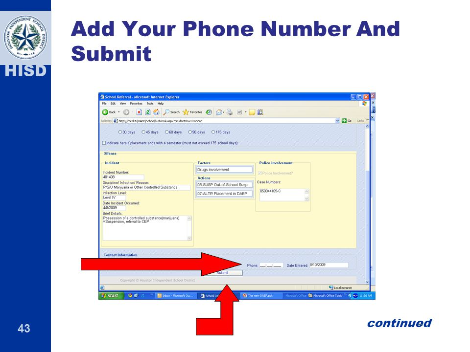43 HISD Add Your Phone Number And Submit continued