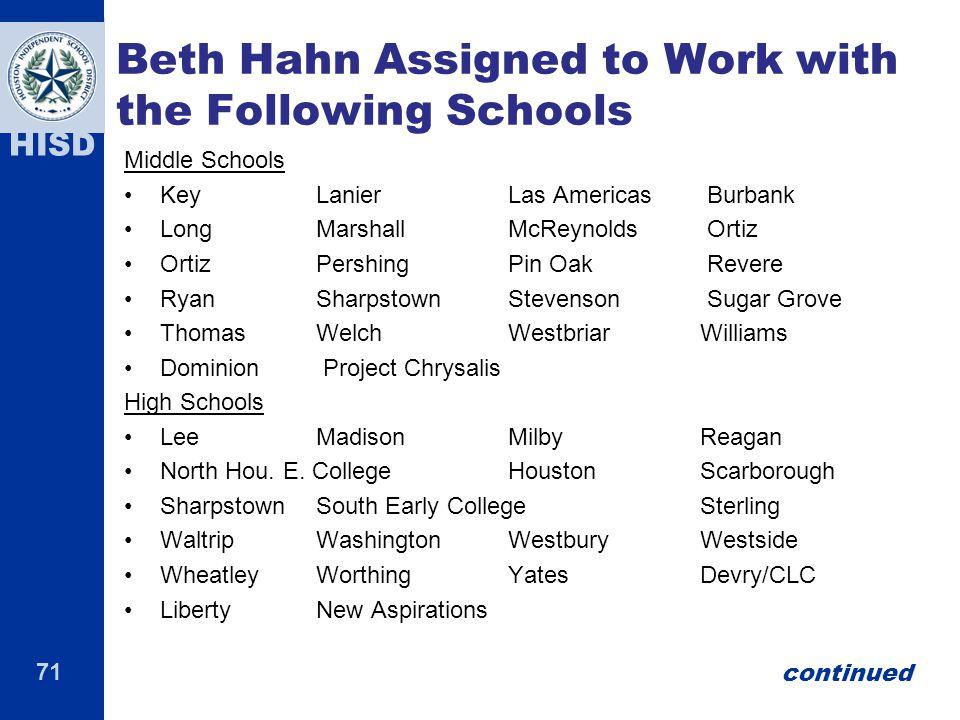 71 HISD Beth Hahn Assigned to Work with the Following Schools Middle Schools KeyLanierLas Americas Burbank LongMarshallMcReynolds Ortiz OrtizPershingP