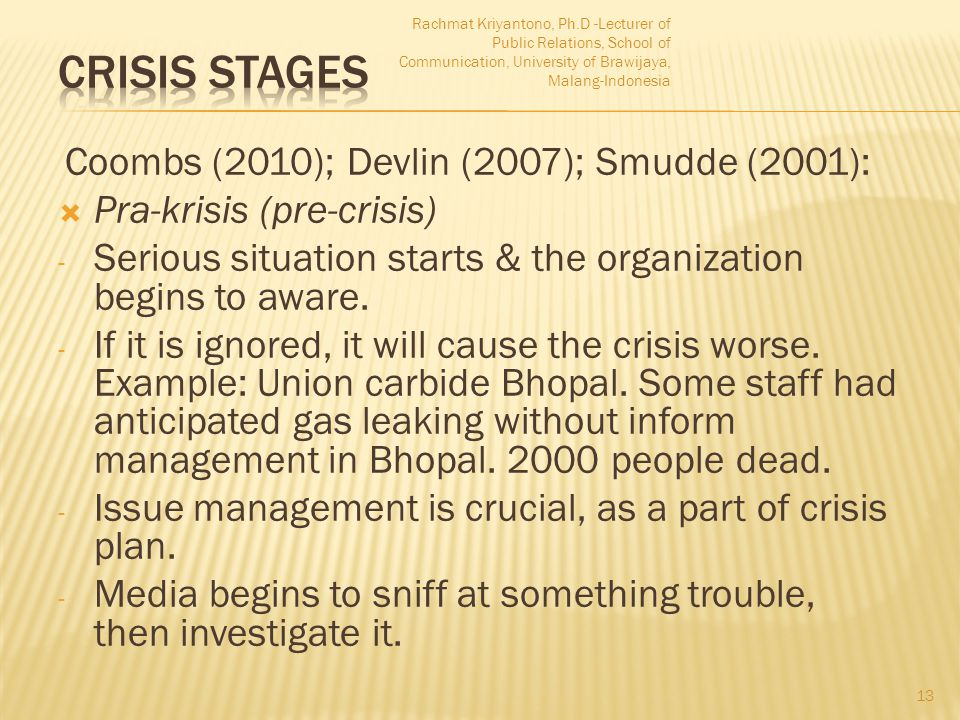 Coombs (2010); Devlin (2007); Smudde (2001):  Pra-krisis (pre-crisis) - Serious situation starts & the organization begins to aware. - If it is ignor
