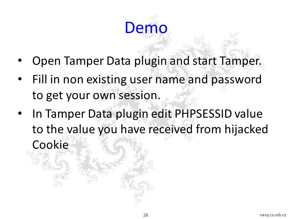 navy.cs.vsb.cz 26 Demo Open Tamper Data plugin and start Tamper.