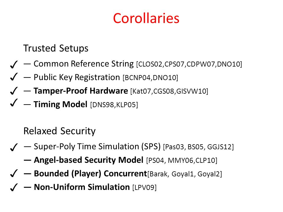 — Common Reference String [CLOS02,CPS07,CDPW07,DNO10] — Public Key Registration [BCNP04,DNO10] — Tamper-Proof Hardware [Kat07,CGS08,GISVW10] — Timing Model [DNS98,KLP05] Trusted Setups Corollaries Relaxed Security — Super-Poly Time Simulation (SPS) [Pas03, BS05, GGJS12] — Angel-based Security Model [PS04, MMY06,CLP10] — Bounded (Player) Concurrent [Barak, Goyal1, Goyal2] — Non-Uniform Simulation [LPV09] ✓ ✓ ✓ ✓ ✓ ✓ ✓