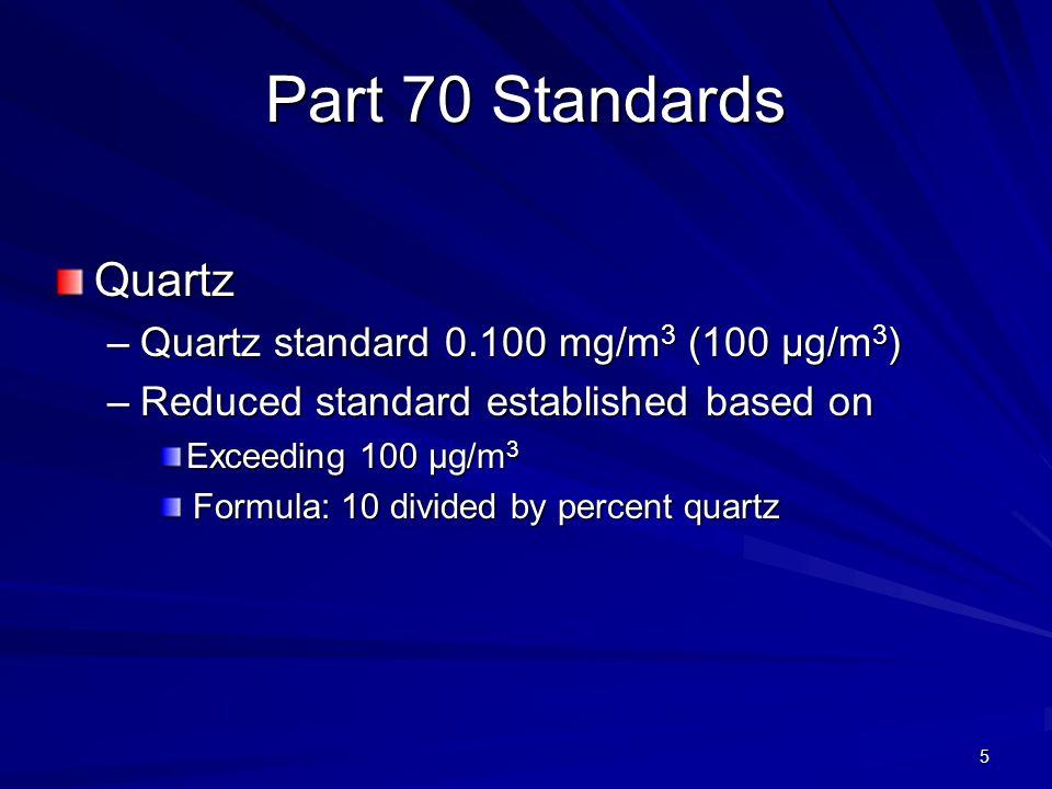 Part 70 Standards Quartz –Quartz standard 0.100 mg/m 3 (100 µg/m 3 ) –Reduced standard established based on Exceeding 100 µg/m 3 Formula: 10 divided by percent quartz Formula: 10 divided by percent quartz 5
