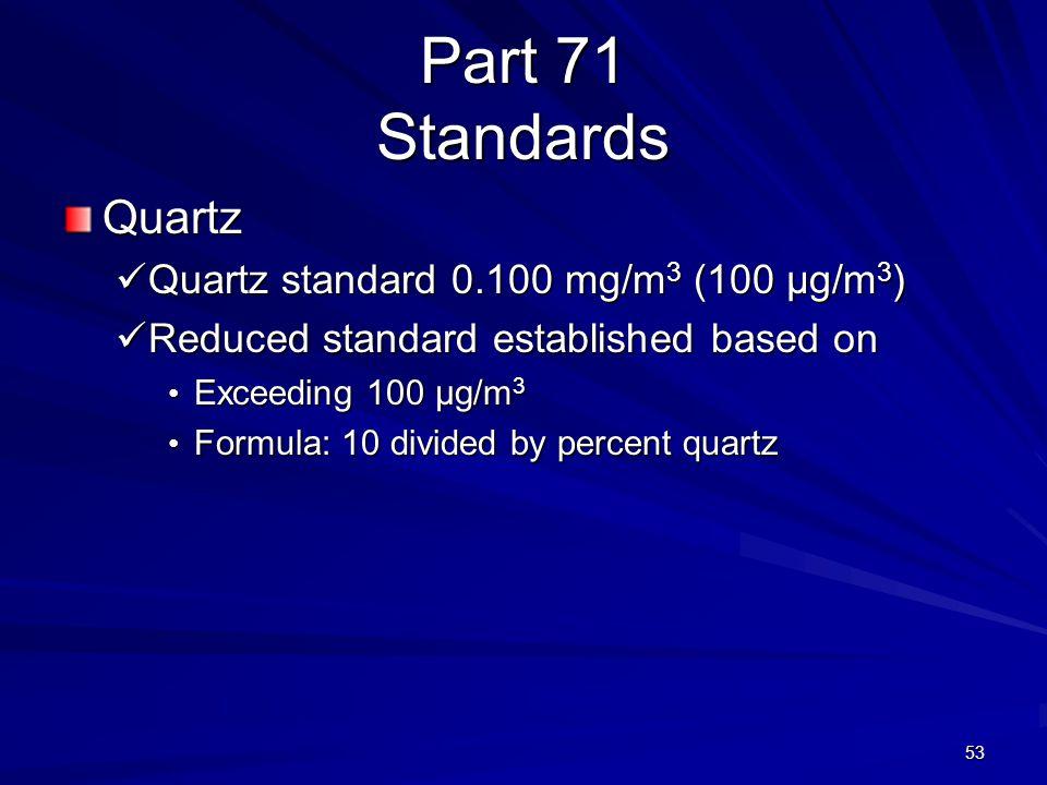Part 71 Standards Quartz Quartz standard 0.100 mg/m 3 (100 µg/m 3 ) Quartz standard 0.100 mg/m 3 (100 µg/m 3 ) Reduced standard established based on R