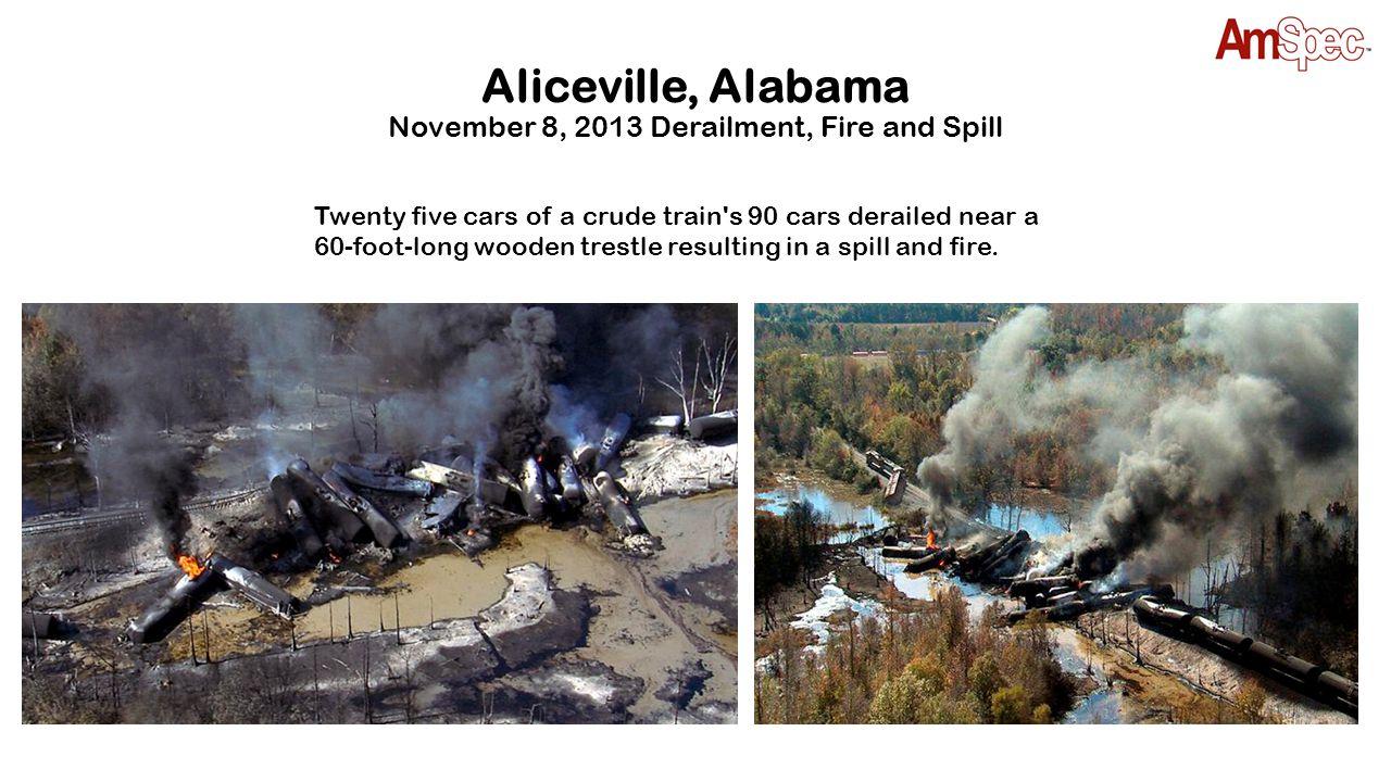 Aliceville, Alabama November 8, 2013 Derailment, Fire and Spill Twenty five cars of a crude train's 90 cars derailed near a 60-foot-long wooden trestl