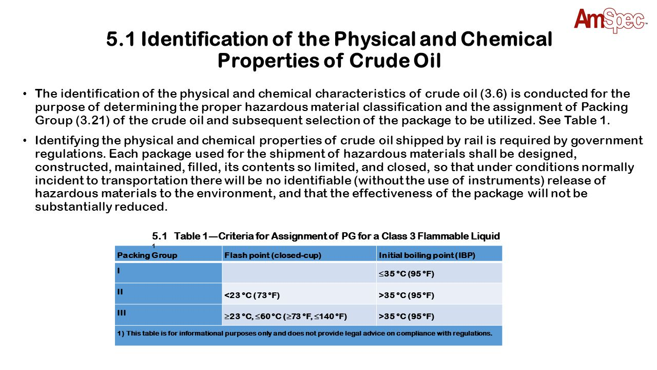 5.1 Identification of the Physical and Chemical Properties of Crude Oil The identification of the physical and chemical characteristics of crude oil (